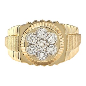 Fashion Strada 1.00 CTW Natural Mens Rolex Diamond Ring 14k Solid Yellow Gold