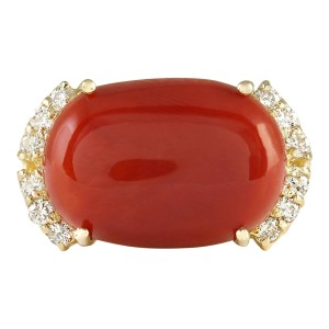 Fashion Strada 10.34 CTW Natural Coral And Diamond Ring In 14k Yellow Gold
