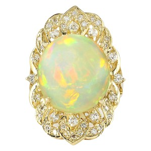 Fashion Strada 10.65 CTW Natural Opal And Diamond Ring In 14k Yellow Gold