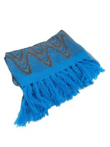 Missoni Missoni Blue Gold Chevron Print Shimmer Knit with Fringe Scarf