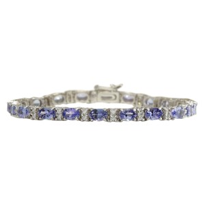 Fashion Strada 11.01 CTW Natural Tanzanite And Dimond Bracelet In 14k Solid White Gol