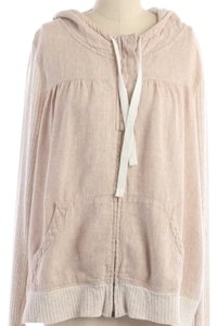 Anthropologie Beige Linen Zip Up Jacket Sweatshirt
