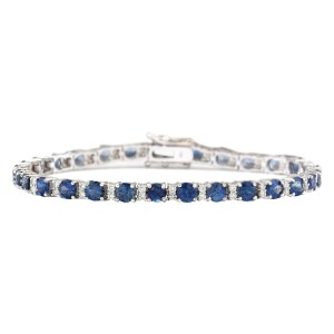 Fashion Strada 11.10 CTW Natural Sapphire And Diamond Bracelet In 14k Solid White Gol