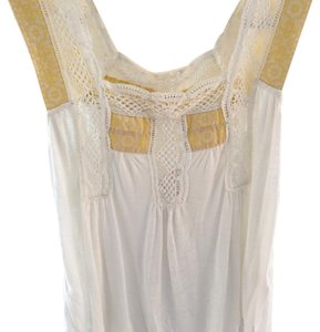 Free People T Shirt White with white lace and yellow ribbon detail