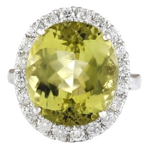 Fashion Strada 12.16 CTW Natural Yellow Beryl And Diamond Ring 14k Solid White Gold
