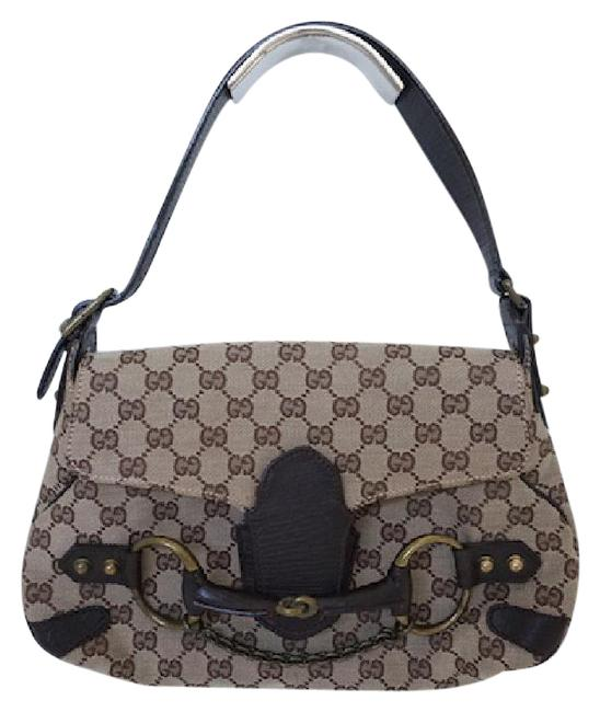 Gucci Monogram Chain Bracket Gg Tom Ford Brown Canvas & Lather Shoulder Bag Gucci Monogram Chain Bracket Gg Tom Ford Brown Canvas & Lather Shoulder Bag Image 1