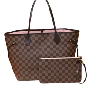 Louis Vuitton Lv Neverfull Mm Neverfull Gm Tote in Damier Ebene with ROSE BALLERINE