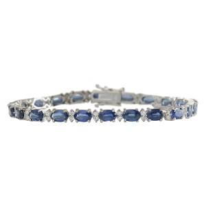 Fashion Strada 13.49 CTW Natural Sapphire And Diamond Bracelet In 14K White Gold