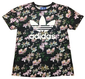 adidas T Shirt Purple, Green and Black Floral