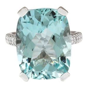 Fashion Strada 14.33 CTW Natural Aquamarine And Diamond Ring In 14k White Gold