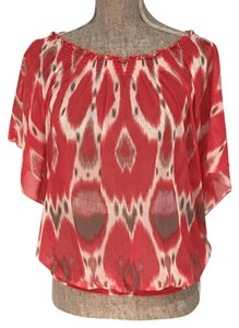INC International Concepts Sheer Summer Sheer Off Top Red,White,Taupe