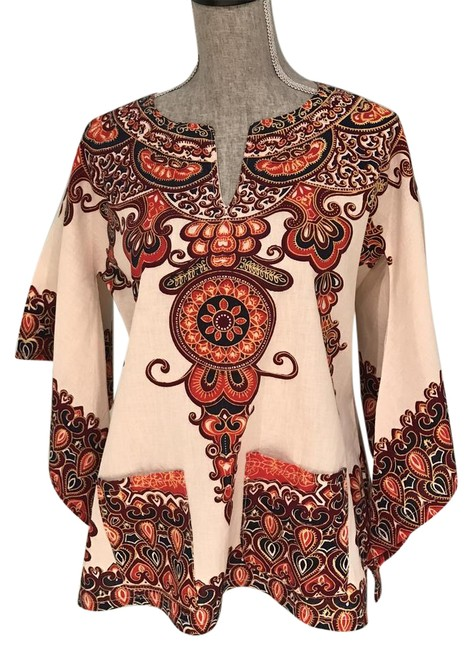 Preload https://img-static.tradesy.com/item/21252898/multi-orange-brown-burgundy-bold-multi-colored-caftantuniccover-up-small-tunic-size-6-s-0-2-650-650.jpg