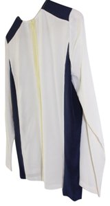 Raoul Back Zipper Navy And White Silk Light Top Optic White/Deep Blue/Citron