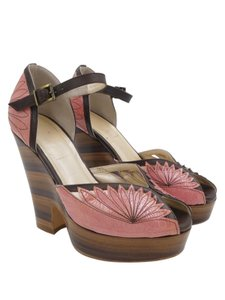 Nanette Lepore Floral Pink, Brown Wedges