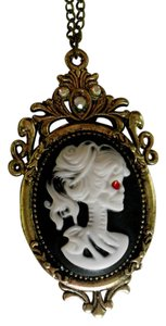 GOTHIC STEAMPUNK SKELETON CAMEO SKULL ZOMBIE LADY PENDANT LOLITA DAY OF DEAD 30 inch