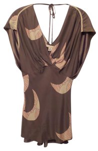 Anthropologie Harkham Silk Print Top Taupe