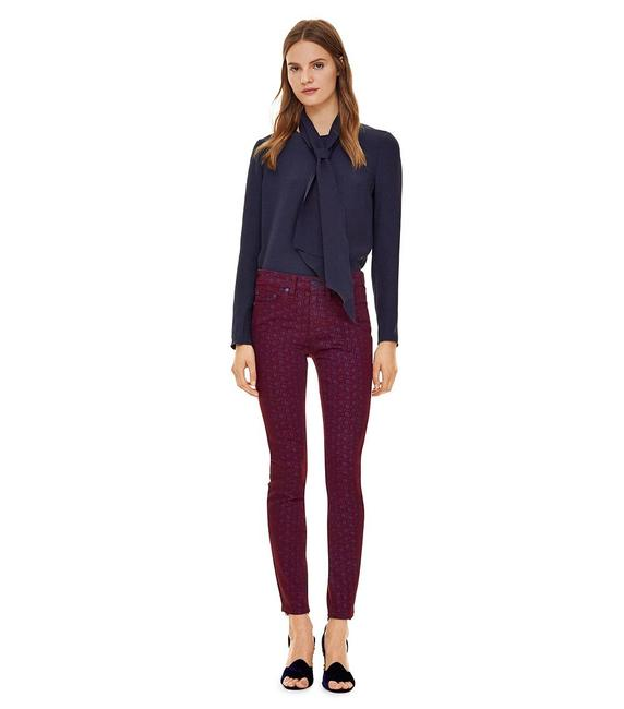 Item - Burgundy (Nwt) High Waisted Printed Skinny Jeans Size 27 (4, S)