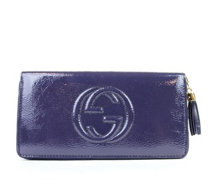 Gucci Soho Soft Patent Leather Zip Around Clutch Wallet Blue 308004 4233