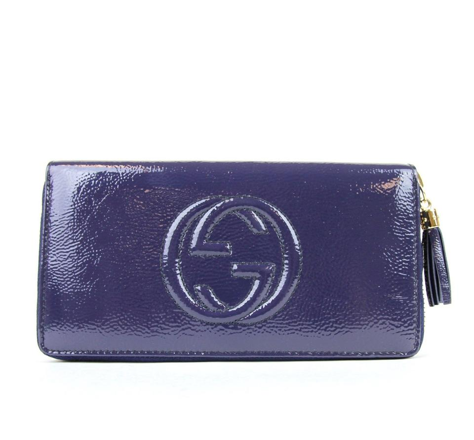 179dac5f213 Gucci Blue Soho Soft Patent Leather Zip Around Clutch 308004 4233 Wallet