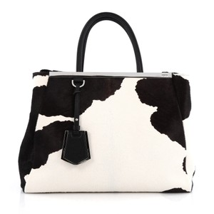 Fendi Calf Hair Black And 2jours Tote in White