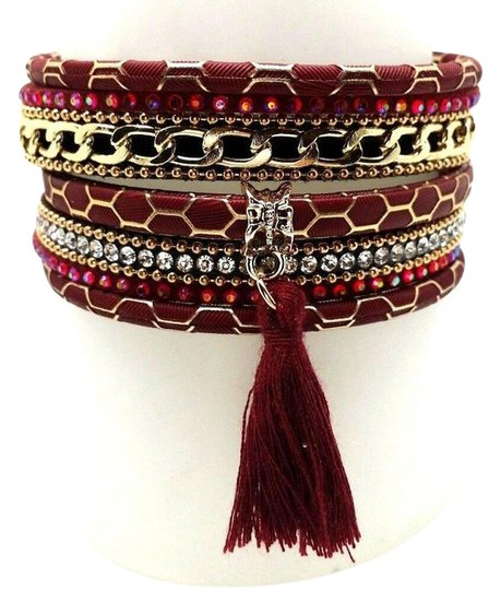 Preload https://img-static.tradesy.com/item/21253260/red-gold-wide-black-beads-crystal-accent-tone-chain-bracelet-0-1-540-540.jpg