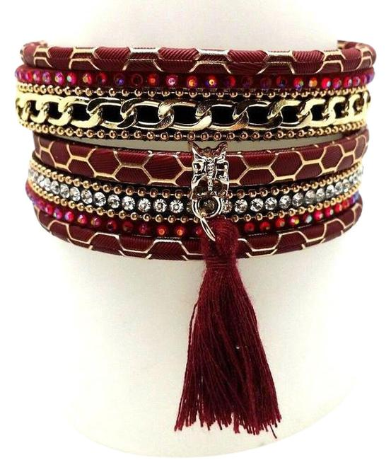 Top Gold & Diamond Jewelry Red Wide Black Beads Crystal Accent Tone Chain Bracelet Top Gold & Diamond Jewelry Red Wide Black Beads Crystal Accent Tone Chain Bracelet Image 1