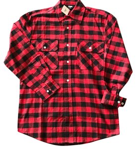 Urban Outfitters Button Down Shirt Red + Black Plaid