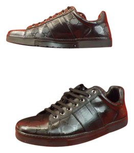 Gucci Men's Black Imprime Leather Ace Gg Guccissima Web Sneakers 5 6 $470
