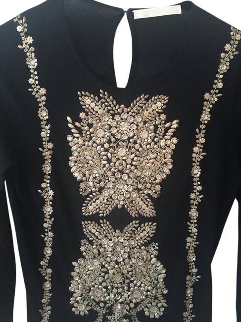 Item - Tunic/Pullover Black with Gold Metal Embellishments Sweater