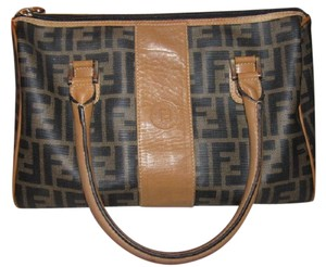 Fendi M-l Size Classic Style Mint Vintage Large F Logo Tobacco Satchel in Zucca print in browns/camel