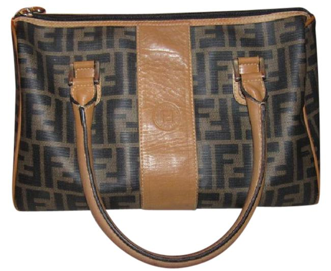 Fendi Canvas/Leather Top Handle Zucca Print In Browns/Camel Leather & Coated Canvas Satchel Fendi Canvas/Leather Top Handle Zucca Print In Browns/Camel Leather & Coated Canvas Satchel Image 1