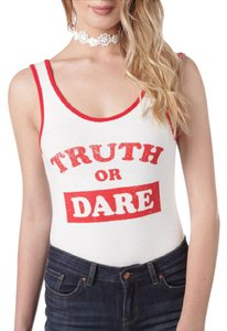 Inspired Hearts Bodysuit Graphic Statement Scoop Back Top white red
