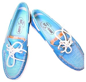 Sperry Leather Crocodile Loafer Unique Turquoise blue Flats