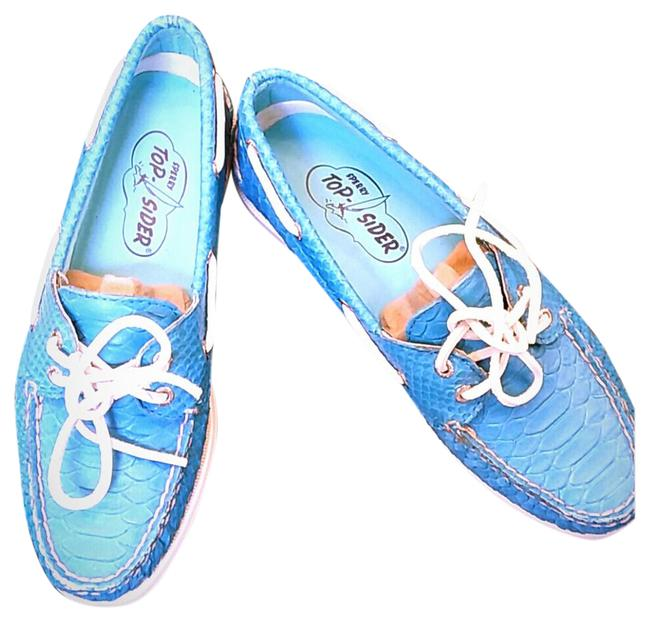Sperry Turquoise Blue Rare Crocodile Leather Loafer Boat Flats Size US 7 Regular (M, B) Sperry Turquoise Blue Rare Crocodile Leather Loafer Boat Flats Size US 7 Regular (M, B) Image 1