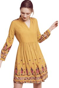 Floreat short dress Yellow Anthropologie Embroidered Xs on Tradesy