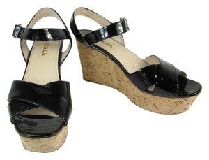 Prada Black Leather Cork Wedge Beige Sandals