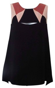 BCBGMAXAZRIA Geometric Color-blocking Sleeveless Top Black/Combo