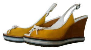 Cole Haan Leather Canvas Sandal Sporty Yellow Wedges