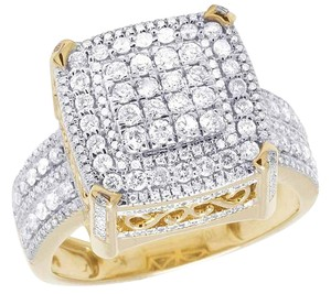 Other Men's 10K Yellow Gold Real Diamond Square Pinky Ring 1.42 CT 15MM
