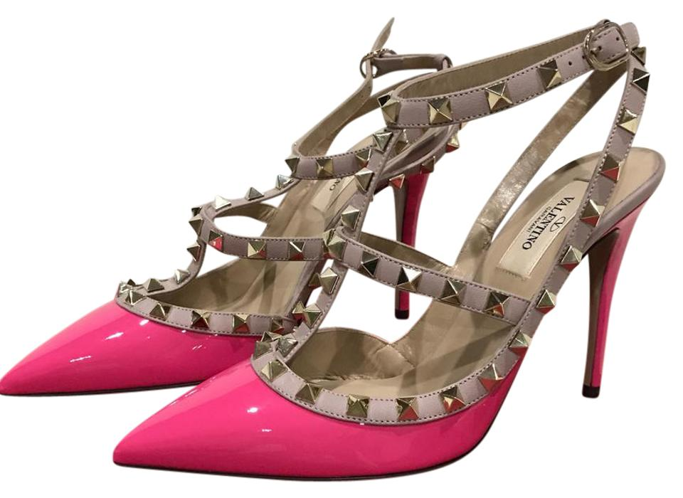 Valentino Strap Pink/ Nude New Rockstud Ankle Strap Valentino Patent Leather Pumps 4b2b0a
