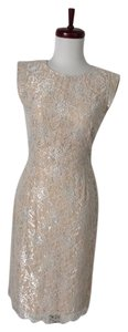 Erin Fetherston Silver Lace Sheath Cocktail Dress
