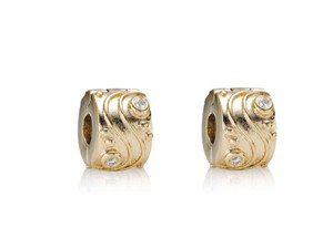 PANDORA New PANDORA Babbling Brook 14k Gold and Diamond Clips