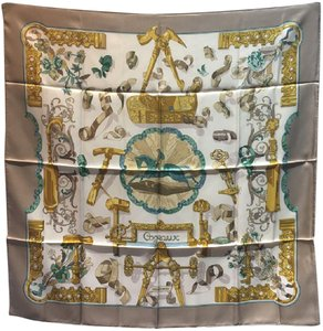 Hermès Hermes Copeaux Silk Scarf in Taupe and White