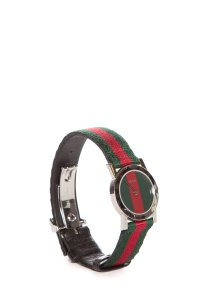 Gucci 5200 L Stainless Steel Watch with Green & Red Stripe Band