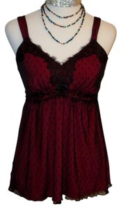 Soma Intimates Lace Mesh Top Red, Black