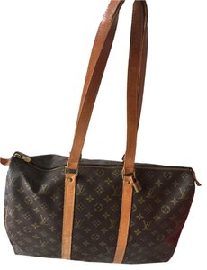 Louis Vuitton Vintage Monogram Leather Tote brown Travel Bag