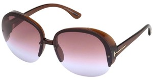 Tom Ford NEW Tom Ford Marine Oversized Pink Gradient Shield Round Sunglasses