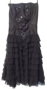 Betsey Johnson Bustier Silk Sequined Strapless Dress