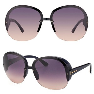 Tom Ford NEW Tom Ford Marine Purple Gradient Shield Oversized Round Sunglasses