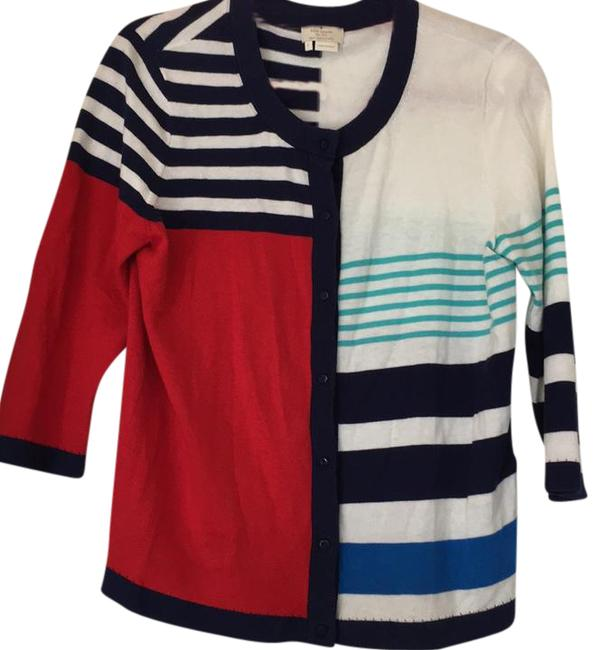Preload https://img-static.tradesy.com/item/21254595/kate-spade-blue-red-white-colorblock-and-stripe-design-large-cardigan-size-12-l-0-1-650-650.jpg